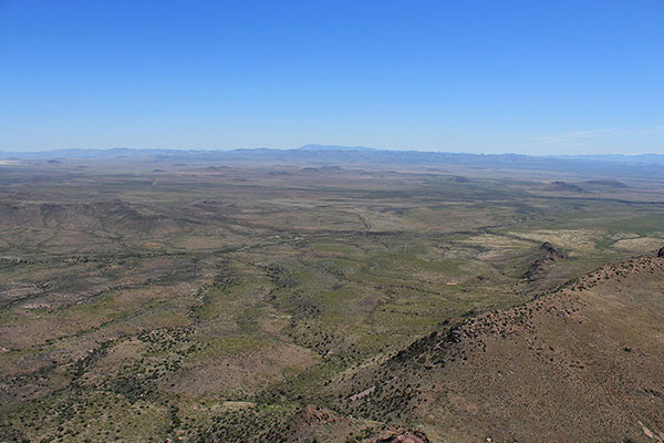The Peloncillo Mountains and New Mexico to the east from the South College Peak summit