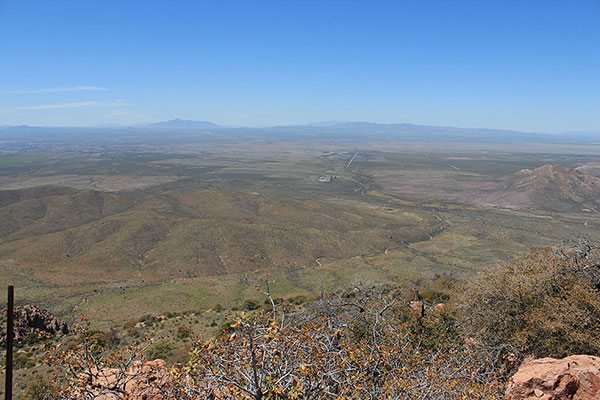Sierra San Jose in Mexico and the Mule and Huachuca Mountains of Arizona to the WSW