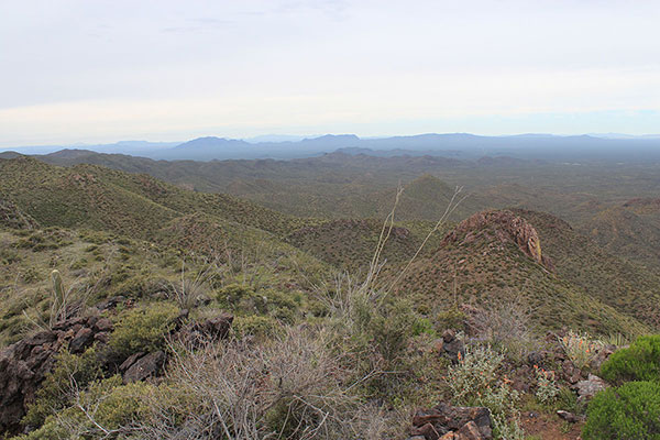 To the west South and Ben Nevis Mountains lie in front of more distant Mesquite Benchmark and the Ajo Range.