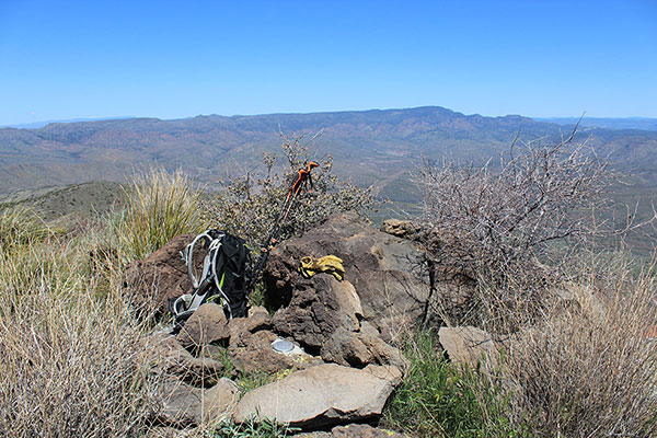 The summit of West Cedar Mountain. A survey marker lies below.