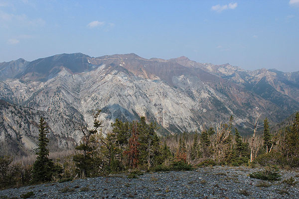 Looking down into the Hurricane Creek Valley from the northwest ridge of the Hurwal Divide