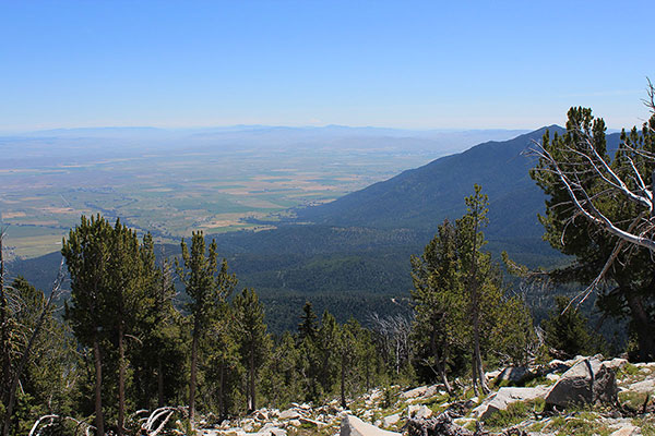From Peak 8566 the Baker Valley lies below with Baker City just visible beyond the shoulder of Hunt Mountain