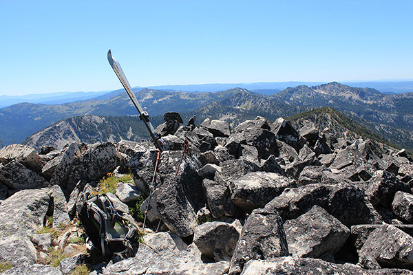 The summit of Twin Mountain with skis left here years ago to memorialize a lost friend