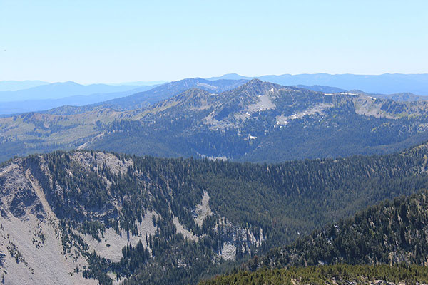 Mount Ruth, Mount Ireland, and distant Vinegar Hill lined up from Twin Mountain