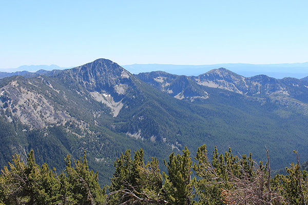 "Red Mountain, ""Summit Point"", and distant Ironside Mountain from Twin Mountain"