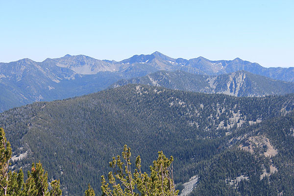 Rock Creek Butte, the highpoint of the Elkhorn Mountains, to the south from Twin Mountain