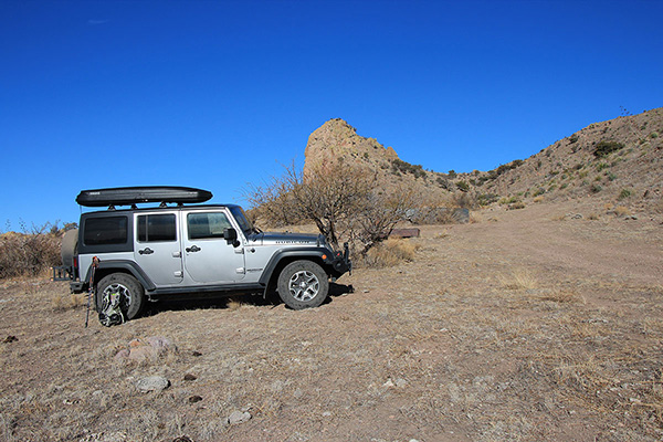After climbing Wood Canyon I reached a water tank and parked my Jeep