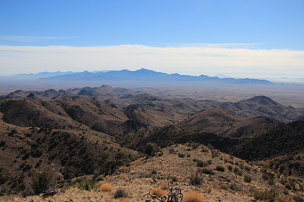 The view south included the Dos Cabezas and Chiricahua Mountains