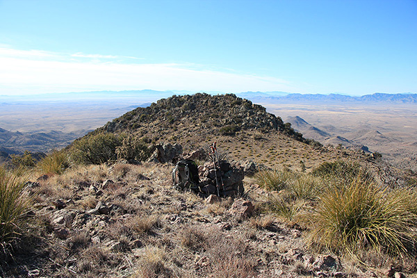 Looking southwest to Grease Benchmark from the summit of Greasewood Mountain