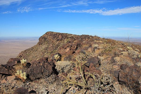 The Growler Peak summit, overlooking the Growler Valley to the left