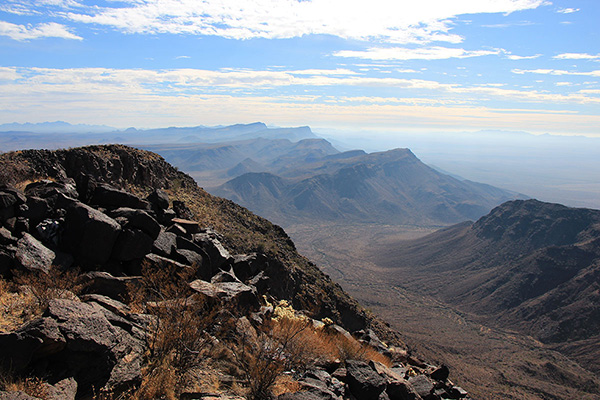 The view south along the spine of the Growler Mountains from Growler Peak. Gro Benchmark, the highpoint of the range, lies just left of center.