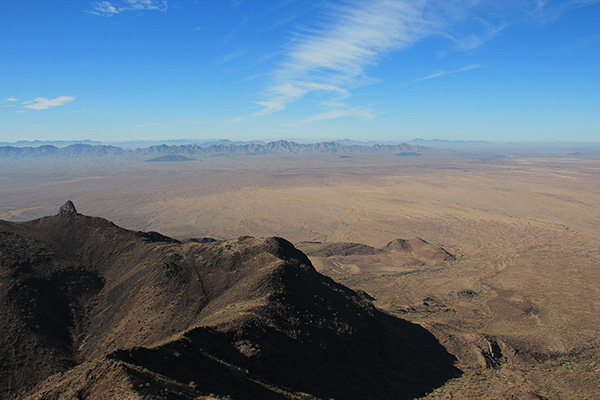 West across the Growler Valley towards the Granite and Mohawk Mountains