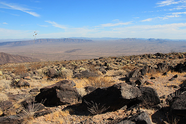 East from Growler Peak, with Childs Mountain on the left, the Little Ajo Mountains on the right, and the city of Ajo beyond