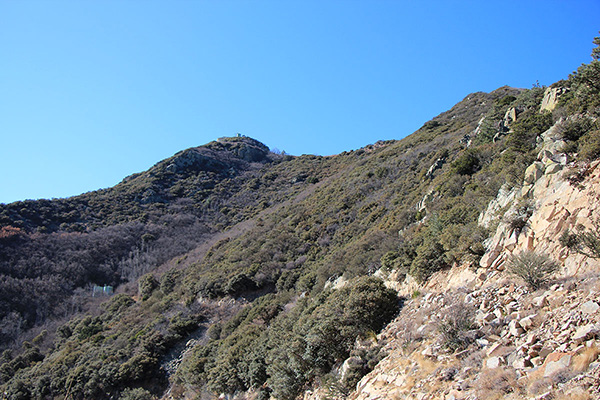 The view of the summit from where I gained the road