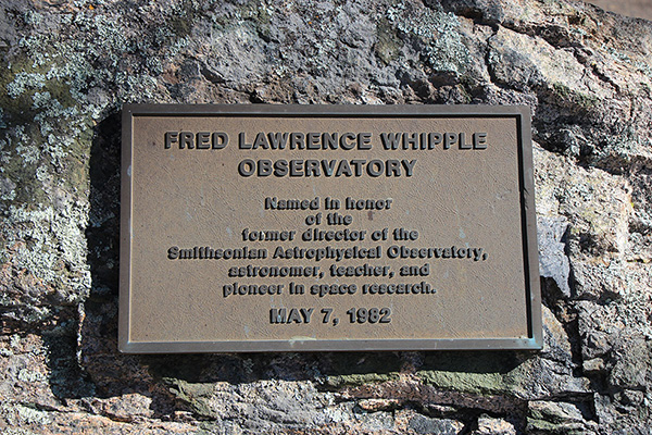 The Fred Lawrence Whipple Observatory plaque near the visitor parking lot