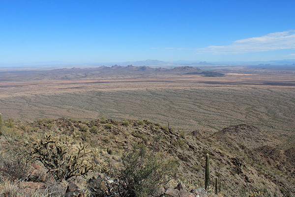 The Sawtooth and Picacho Mountains lie northeast of the Prieta Peak summit