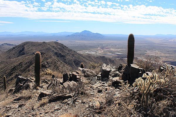 The view of Gu Achi Peak beyond the Lakeshore Mine from the Prieta Peak summit