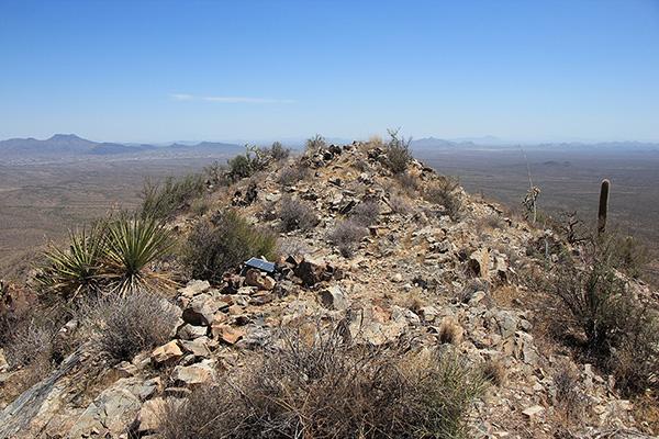 The Maricopa Peak summit ridge with solar panel