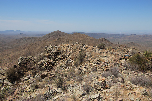 The view northwest along the spine of Javelina Mountain from the Maricopa Peak summit