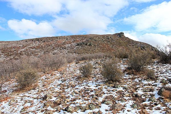 Snow lingered the last 300 feet to the Mohon Peak summit