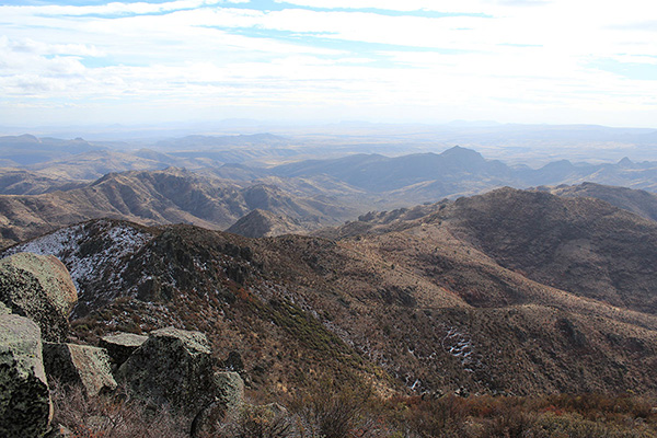 To the south I see the distant Date Creek Mountains, Tres Alamos, and Arrastra Mountain in the haze