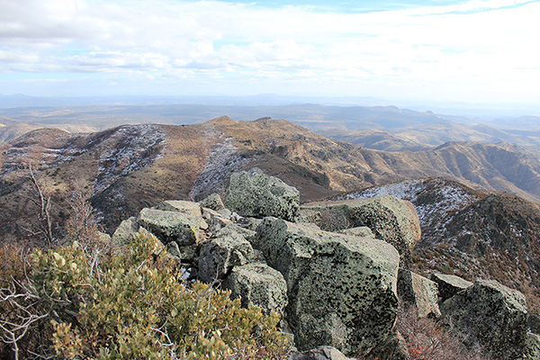 Southeast from the Mohon Peak summit; I can't identify the distant peaks