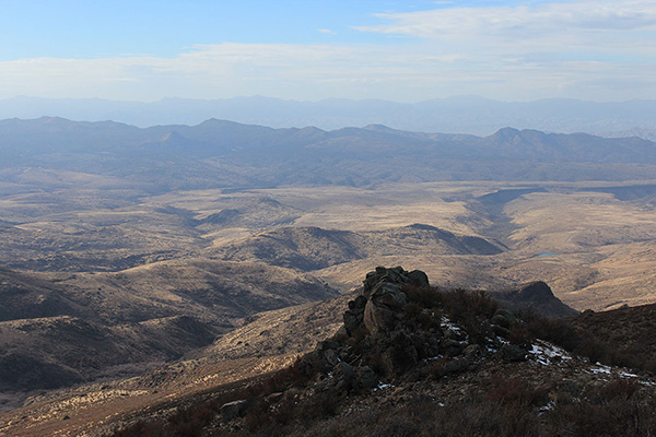 Goldwater Tank and the wide Dividing Canyon are to the right. Black Butte and Gonzales Canyon are to the left.
