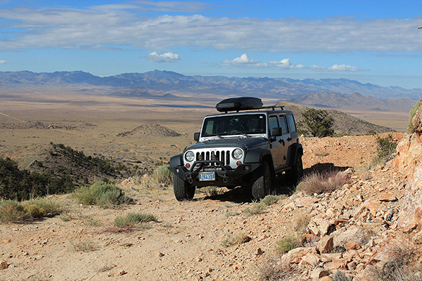 My Jeep parked at the end of Hensz Road; the Cerbat Mountains lie beyond
