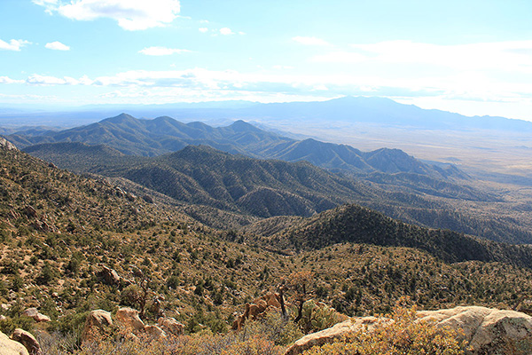 The Hualapai Mountains rise high above Kingman to the south of Peacock Peak