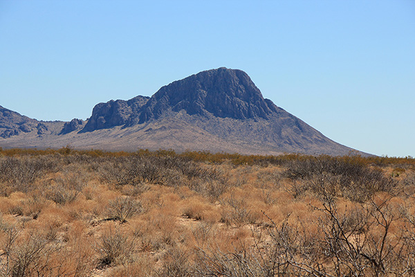 Orange Butte from the northwest on the drive in to Whitlock Peak