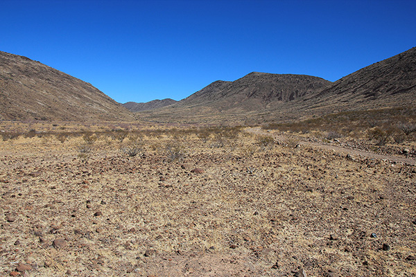 Low in Poppy Canyon, Whitlock Peak is hidden around the curve to the left