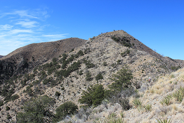 Once on the ENE Ridge we followed it towards the summits, climbing over the knob on the right