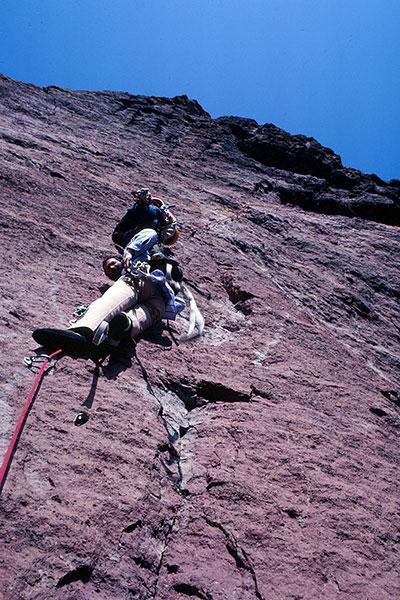 Franz leads our team up Monkey Face's bolt ladder (October 1982).
