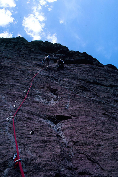 Franz arrives at Monkey Face's mouth at the top of the overhanging bolt ladder (October 1982).